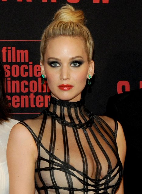 """Actress Jennifer Lawrence attends the """"Red Sparrow"""" premiere at Alice Tully Hall at Lincoln Center on February 26, 2018 in New York City. (Photo by Splash News and Pictures)"""