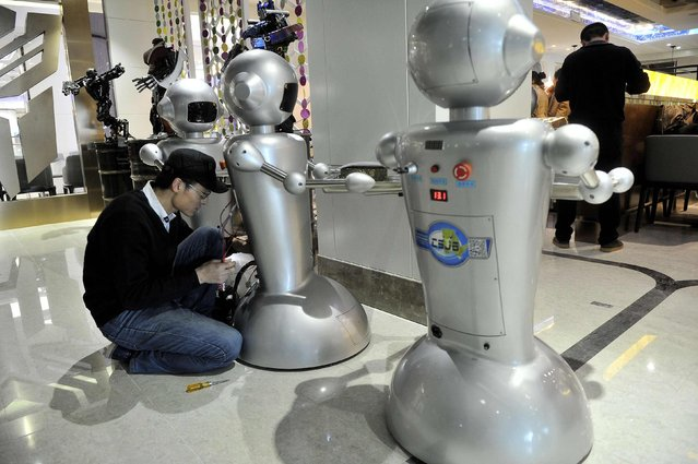 A man checks on a robot at a restaurant in Hefei, Anhui province, December 26, 2014. The restaurant, with a space of 1300 square metres and a total of 30 robots to cook meals, deliver dishes and welcome costumers, was reported to be the biggest robot restaurant in China. (Photo by Reuters/Stringer)