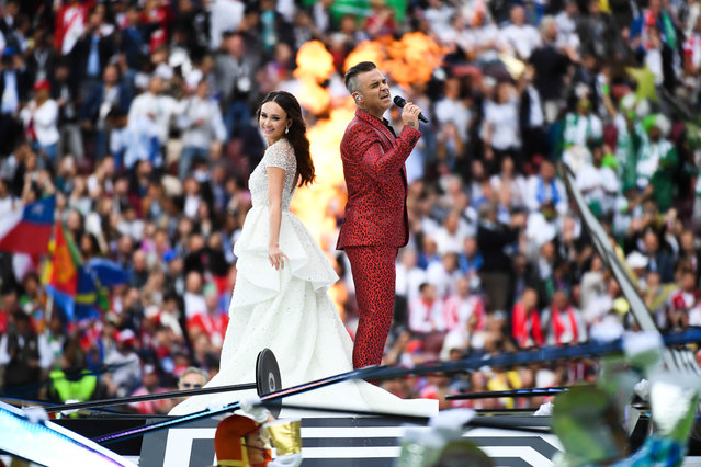 Williams and Garifullina finish their performance with a duet of Williams's big hit Angels during the opening ceremony before the Russia 2018 World Cup Group A football match between Russia and Saudi Arabia at the Luzhniki Stadium in Moscow on June 14, 2018. (Photo by Anthony Dibon/Icon Sport via Getty Images)