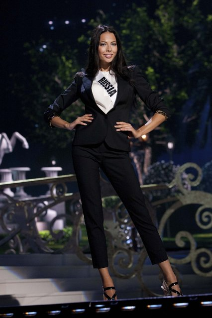 Miss Russia 2014 Yulia Alipova rehearses on stage for the 63rd annual Miss Universe Pageant in Miami, Florida in this January 24, 2015 handout photo courtesy of the Miss Universe Organization. (Photo by Reuters/Miss Universe Organization)