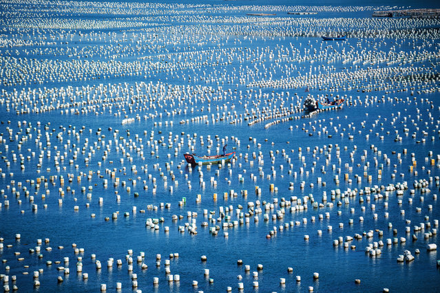 This picture taken on June 1, 2018 shows a fisher man in his boat passing buoys in the port of Gouqi Island, Zhejiang province, around 100 kilometers south west of Shanghai. (Photo by Johannes Eisele/AFP Photo)