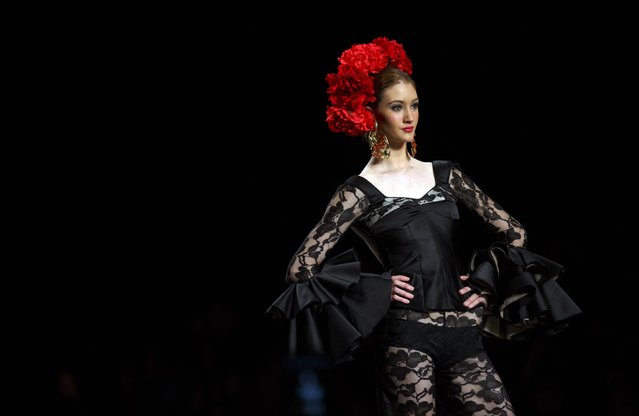 A model presents a creation by Guillermo Ramirez during the International Flamenco Fashion Show SIMOF in the Andalusian capital of Seville February 5, 2015. (Photo by Marcelo del Pozo/Reuters)