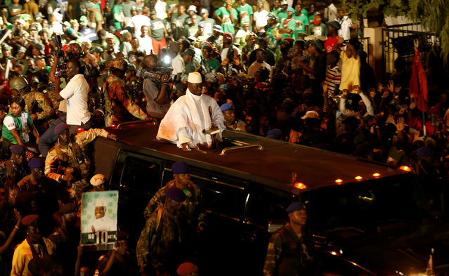 Gambia's President Yahya Jammeh, who is also a presidential candidate for the Alliance for Patriotic Re-orientation and Construction (APRC) arrives for a rally in Banjul, Gambia November 29, 2016. (Photo by Thierry Gouegnon/Reuters)