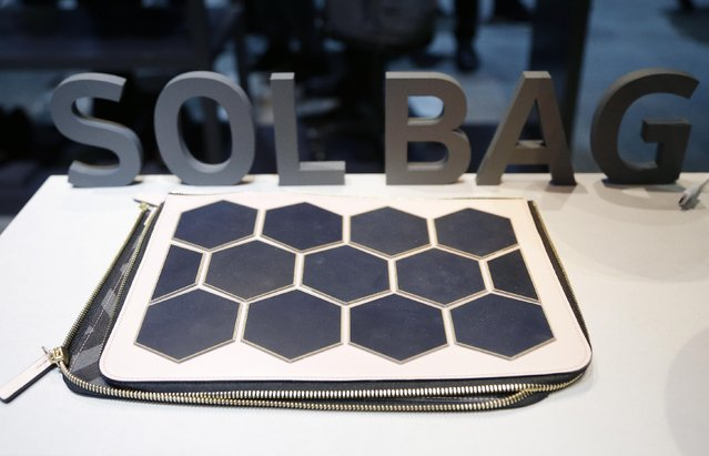 The Sol Bag solar power charger and handbag is on display at the Samsung booth during CES International, Friday, January 8, 2016, in Las Vegas. (Photo by Gregory Bull/AP Photo)