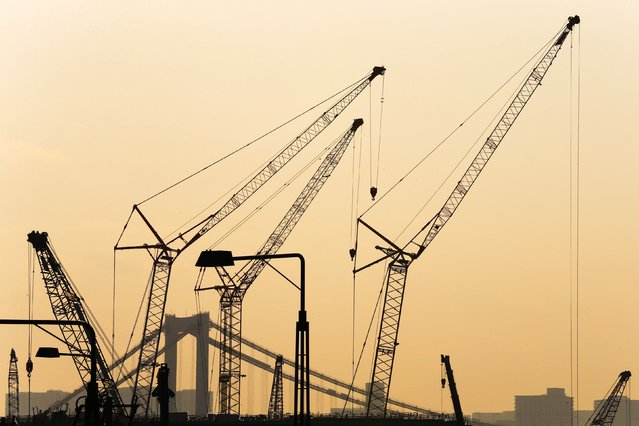 Cranes are pictured against the sunset at construction site in the Toyosu district in Tokyo, February 12, 2015. (Photo by Thomas Peter/Reuters)