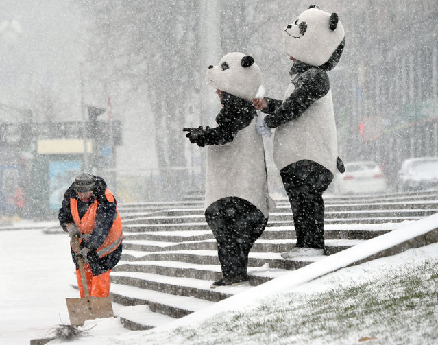 A communal worker removes the snow from steps next people dressed as pandas near the center of the Ukrainian capital Kiev, on November 14, 2018, during an heavy snowfall, the first one of this autumn season. (Photo by Sergei Supinsky/AFP Photo)