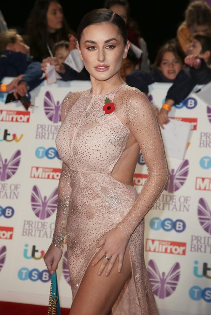 UK Love Island winner Amber Davies seen arriving at the Pride of Britain Awards at the Grosvenor Hotel on October 29, 2018 in London, England. (Photo by Splash News and Pictures)