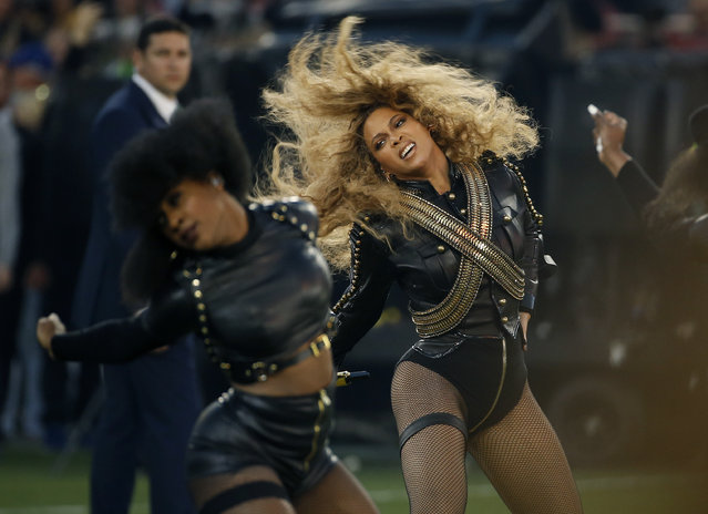 In this Sunday, February 7, 2016 file photo, Beyonce performs during halftime of the NFL Super Bowl 50 football game in Santa Clara, Calif. Beyonce is working overtime this weekend: After releasing a new song Saturday and performing at the Super Bowl on Sunday, she's announced a new stadium tour. The Grammy-winning singer announced her 2016 Formation World Tour in a commercial after she performed at the halftime show with Bruno Mars and Coldplay. (Photo by Matt Slocum/AP Photo)