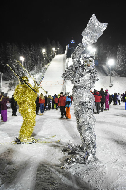 Ski Jumping fans during the FIS Ski Jumping World Cup event in Kuopio, Finland, 23 February 2016. (Photo by Kimmo Brandt/EPA)