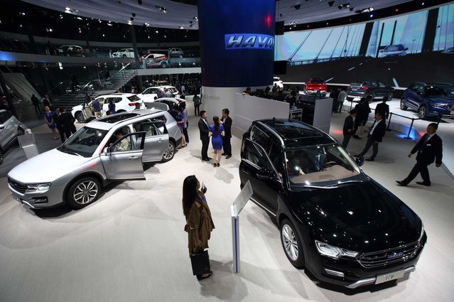 Great Wall Motor Co. Haval brand vehicles stand on display at the 16th Shanghai International Automobile Industry Exhibition (Auto Shanghai 2015) in Shanghai, China, on Monday, April 20, 2015. (Photo by Tomohiro Ohsumi/Bloomberg)