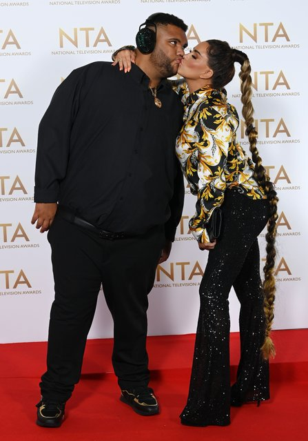 English media personality Katie Price, 43, with son Harvey, 19,  attend the National Television Awards 2021 at The O2 Arena on September 09, 2021 in London, England. (Photo by David Fisher/Rex Features/Shutterstock)