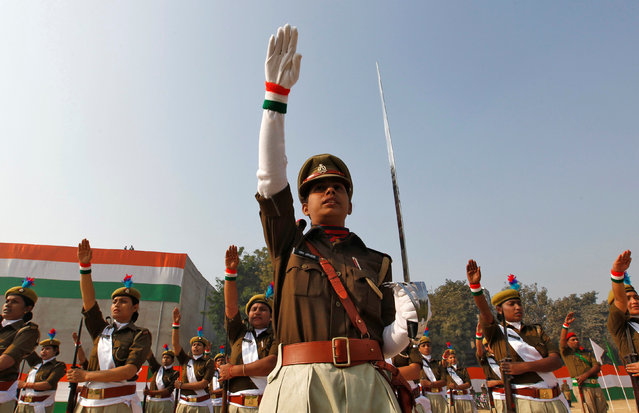 Police women take part in the India's Republic Day parade in Allahabad, India January 26, 2017. (Photo by Jitendra Prakash/Reuters)