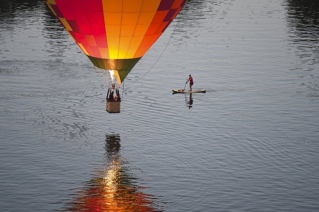 A paddle boarder watches a hot air balloon flying low over Lake Burley Griffin on the 30th anniversary of Canberra's Balloon Spectacular festival in Australia's capital, March 14, 2016. (Photo by Lukas Coch/Reuters/AAP)