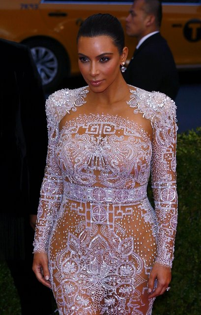 "Kim Kardashian arrives at the Metropolitan Museum of Art Costume Institute Gala 2015 celebrating the opening of ""China: Through the Looking Glass"" in Manhattan, New York May 4, 2015. (Photo by Lucas Jackson/Reuters)"