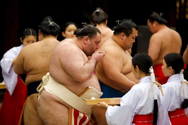 "Sumo wrestlers take part in a Shinto ritual before the start of the ""Honozumo"" ceremonial sumo tournament at the Yasukuni Shrine in Tokyo April 3, 2015. (Photo by Thomas Peter/Reuters)"