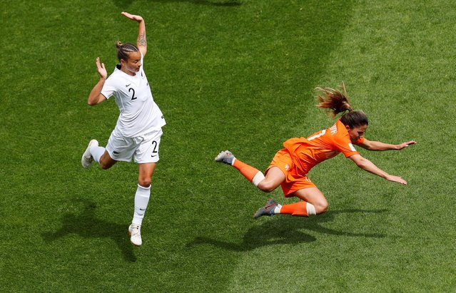 Netherlands' Danielle Van De Donk is fouled by New Zealand's Ria Percival during the Women's World Cup Group E soccer match between New Zealand and the Netherlands in Le Havre, France, Tuesday, June 11, 2019. (Photo by Phil Noble/Reuters)