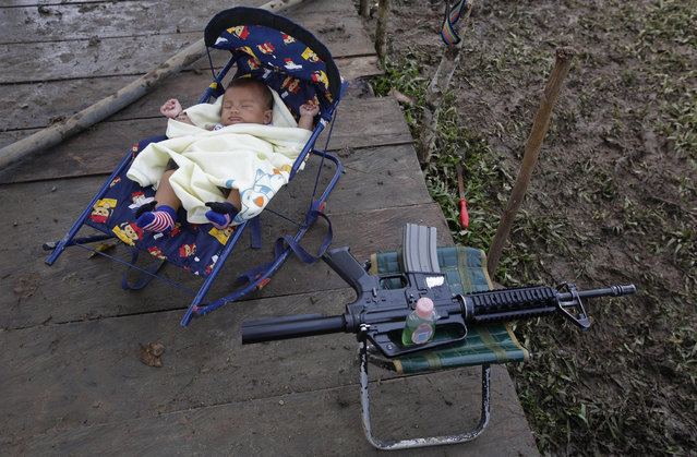 In this Tuesday, February 28, 2017 photo, 3-month-old Junior Alexis Patino, son of FARC rebel Deisy Garcia, sleeps next to his mother's weapon at a rebel camp in a demobilization zone in La Carmelita, in Colombia's southwestern Putumayo state. Amid the makeshift tents and communal kitchens where Colombia's largest rebel army is preparing to lay down its weapons, a new sound is emerging: the cries of babies. (Photo by Fernando Vergara/AP Photo)