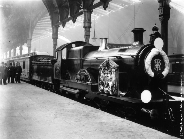 1901: A spotless GWR (Great Western Railway) locomotive, the 'Royal Sovereign' waiting to carry Queen Victoria's coffin