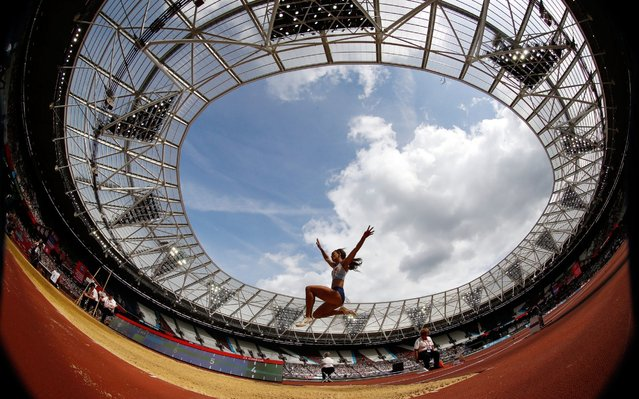 Great Britain's Katarina Johnson-Thompson in the Women's Long Jump during day two of the IAAF London Diamond League meet at the London Stadium on July 21, 2019. (Photo by Martin Rickett/PA Images via Getty Images)