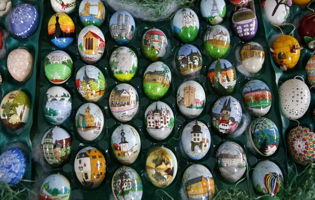 Colourful hand-painted Easter eggs are displayed before German pensioners Christa and Volker Kraft decorate an apple tree with them in the garden of their summerhouse, in the eastern German town of Saalfeld, March 19, 2014. (Photo by Fabrizio Bensch/Reuters)
