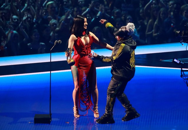 Cardi B, left, presents Missy Elliott with the Video Vanguard award at the MTV Video Music Awards at the Prudential Center on Monday, Aug. 26, 2019, in Newark, N.J. (Photo by Lucas Jackson/Reuters)