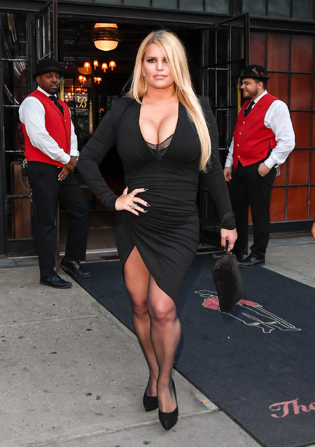 American singer, actress, and fashion designer Jessica Simpson arrives at a hotel in SoHo on September 25, 2019 in New York City. (Photo by Raymond Hall/GC Images)