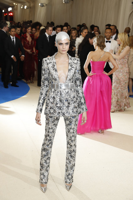 """Actress Cara Delevingne attends """"Rei Kawakubo/Comme des Garcons: Art Of The In-Between"""" Costume Institute Gala – Arrivals at Metropolitan Museum of Art on May 1, 2017 in New York City. (Photo by Lucas Jackson/Reuters)"""