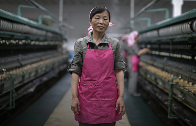 """In this May 9, 2016, photo, Kim Jong Sil, 35, a worker at the Kim Jong Suk Silk Mill for the past 17 years, poses for a portrait in Pyongyang, North Korea. Kim Jong Sil's motto: """"As one of the working class, i'll devote myself to realize the great idea of Marshal Kim Jong Un and I'll work hard to achieve this"""". (Photo by Wong Maye-E/AP Photo)"""