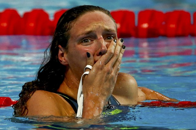 Katinka Hosszu of Hungary reacts after setting a new World Record in the women's 200m individual medley final at the Aquatics World Championships in Kazan, Russia August 3, 2015. (Photo by Hannibal Hanschke/Reuters)
