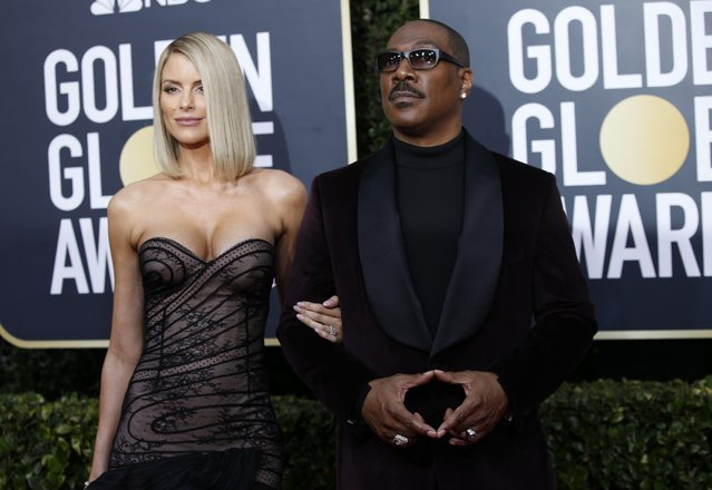 Paige Butcher and Eddie Murphy arrive for the 77th annual Golden Globe Awards on January 5, 2020, at The Beverly Hilton hotel in Beverly Hills, California. (Photo by Mario Anzuoni/Reuters)