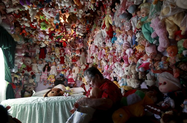 Adela Rojas, 70, poses with her collection of dolls at her home in Heredia August 5, 2015. (Photo by Juan Carlos Ulate/Reuters)