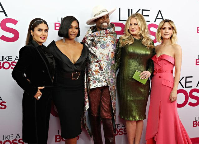 """Salma Hayek, Tiffany Haddish, Billy Porter, Jennifer Coolidge and Rose Byrne attend the world premiere of """"Like A Boss"""" at SVA Theater on January 07, 2020 in New York City. (Photo by Cindy Ord/FilmMagic)"""