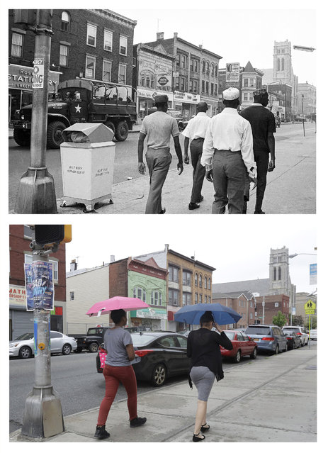 In a July 17, 1967 file photo, top, a National Guard truck rolls alone along Orange Avenue in Newark, N.J., as troops prepare to leave the city after four days of deadly violence and looting that came to be known as the Newark riots. In a June 16, 2017 photo, bottom, women stroll under umbrellas on the same stretch of street 50 years later. (Photo by AP Photo/Harry Harris, top; Julio Cortez, bottom)