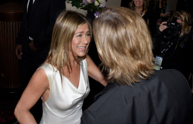 Brad Pitt and Jennifer Aniston attend the 26th Annual Screen Actors Guild Awards at The Shrine Auditorium on January 19, 2020 in Los Angeles, California. (Photo by Vivien Killilea/Getty Images for SAG-AFTRA Foundation)