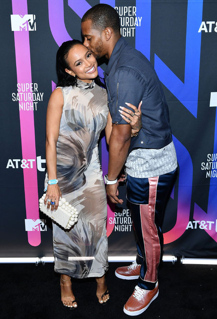 Karrueche Tran and Victor Cruz attend AT&T TV Super Saturday Night at Meridian at Island Gardens on February 01, 2020 in Miami, Florida. (Photo by Dimitrios Kambouris/Getty Images for AT&T)