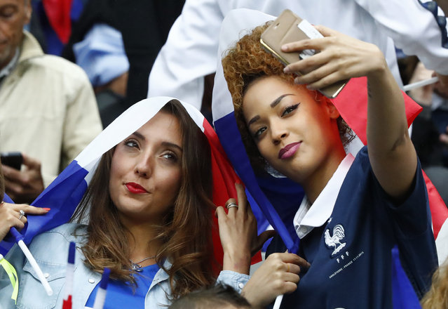 Football Soccer, France vs Iceland, EURO 2016, Quarter Final, Stade de France, Saint-Denis near Paris, France on July 3, 2016. Wife of France's Kingsley Coman, Sephora Coman (R) in the stands. (Photo by Christian Hartmann/Reuters/Livepic)