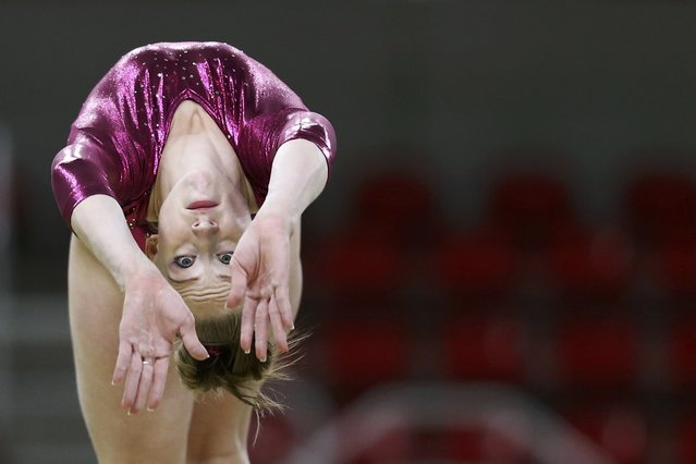 2016 Rio Olympics, Gymnastics training, Rio Olympic Arena, Rio de Janeiro, Brazil on August 4, 2016. Irina Sazonova (ISL) of Iceland trains. (Photo by Damir Sagolj/Reuters)