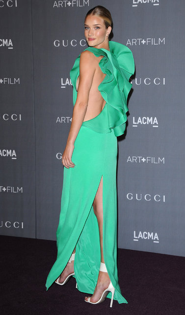 Actress Rosie Huntington-Whiteley arrives at the LACMA Art + Gala at LACMA on October 27, 2012 in Los Angeles, California. (Photo by Jon Kopaloff/FilmMagic)