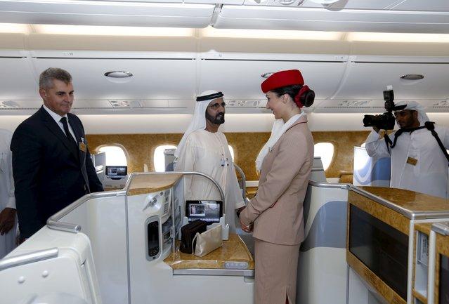 United Arab Emirates Vice President, Prime Minister and Dubai Ruler Sheikh Mohammed bin Rashid al-Maktoum (C) tours an Airbus A380 during Dubai Airshow in Dubai, November 8, 2015. (Photo by Ahmed Jadallah/Reuters)