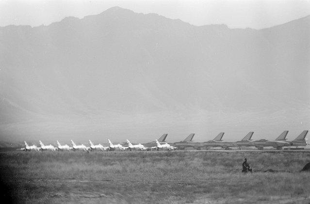 Afghan Air Force Mikoyan-Gurevich MiG-15 fighters and Ilyushin Il-28 bombers in Kabul, Afghanistan, during the visit of the U.S. president Dwight D. Eisenhower, in December of 1959. (Photo by Thomas J. O'Halloran/LOC via The Atlantic)