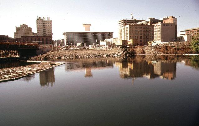 Downtown Spokane, Washington, construction on the future site of Expo '74, on the Spokane River, May 1973. (Photo by David Falconer/NARA via The Atlantic)