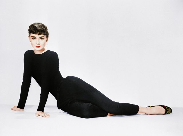"Audrey Hepburn poses for her publicity photo to promote the film ""Sabrina"" on January, 1954. (Photo by Bettmann/Getty Images)"
