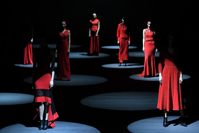 Models walk the runway during the HONTALE & M.ORO CASHMERE collection show on day eight of China Fashion Week A/W 2021/2022 at 751D.PARK on March 31, 2021 in Beijing, China. (Photo by Zhe Ji/Getty Images)