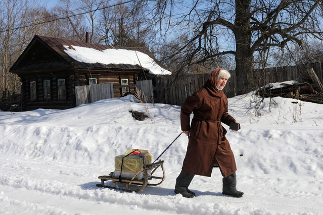A local resident pulls foodstuffs on a sledge in the village of Kurmysh in Nizhny Novgorod Region, Russia on March 27, 2021. (Photo by Anastasia Makarycheva/Reuters)