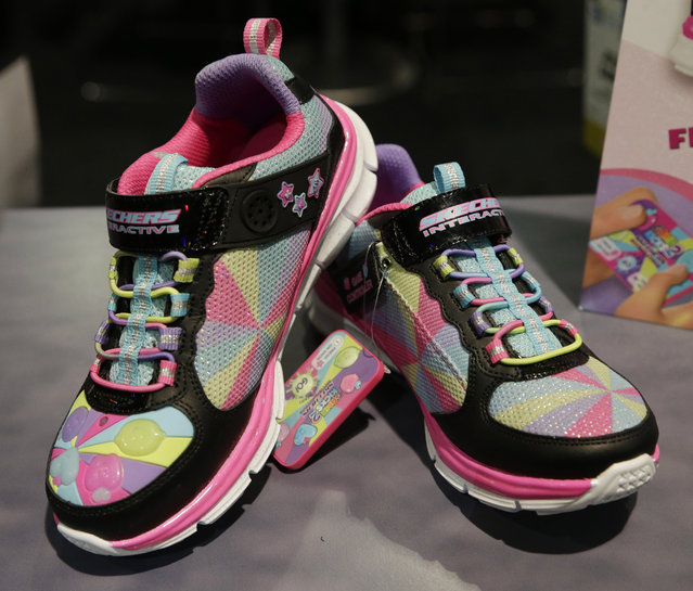 The Skechers Game Kicks 2 are on display at the Skechers booth during CES International, Friday, January 8, 2016, in Las Vegas. (Photo by Gregory Bull/AP Photo)
