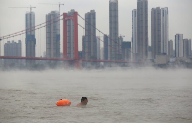 A man swims in Yangtze River among water spray, on a cold weather day in Wuhan, Hubei province, China, November 23, 2016. (Photo by Darley Shen/Reuters)
