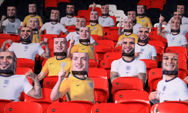 Boxhead cutouts of England players in the stands during the FIFA 2022 World Cup qualifying match at Wembley Stadium, London, United Kingdom on Thursday, March 25, 2021. (Photo by Adam Davy/PA Images via Getty Images)