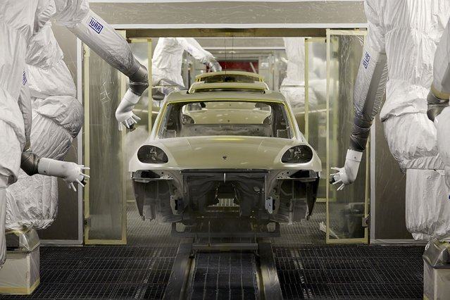 A view of the newly built paint shop of the Porsche Macan production plant in Leipzig, Germany, on February 11, 2014. (Photo by Marco Prosch/Getty Images)