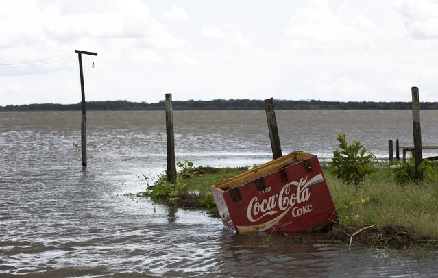 A freezer with a Cola Cola logo is pictured by the banks of the Solimoes river that flooded the rural municipality of Manacapuru, in Amazonas state May 5, 2015. (Photo by Bruno Kelly/Reuters)