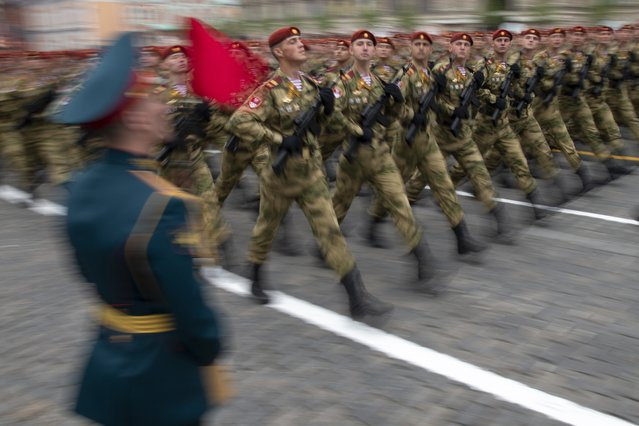 Russian troops march during the Victory Day military parade to celebrate 74 years since the victory in WWII in Red Square in Moscow, Russia, Thursday, May 9, 2019. (Photo by Alexander Zemlianichenko/AP Photo)